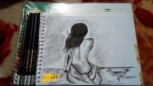 Nude Girl Charcoal Pencil Sketch