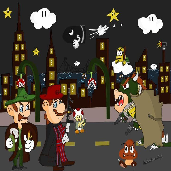Mario Mafia (Night Time Version) - Italianricanart