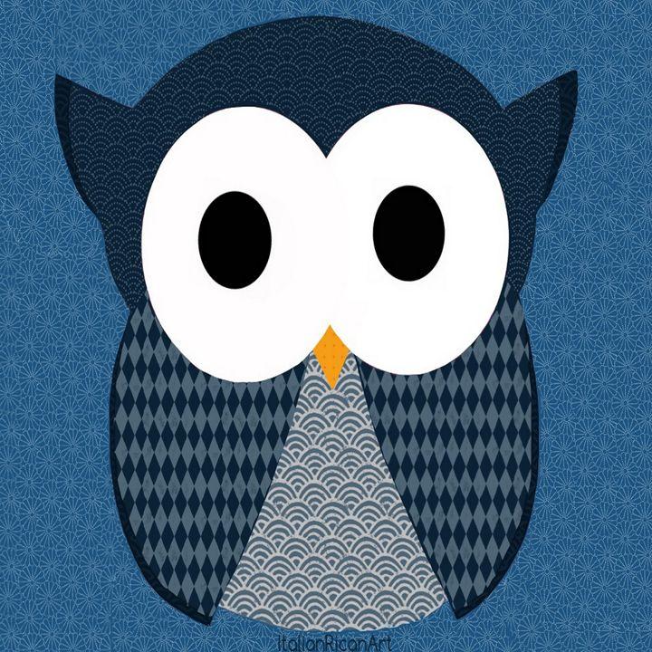 Cute Blue Owl - Italianricanart