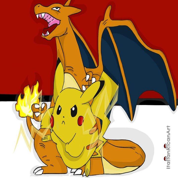 Pokemon (Charzard & Pikachu) - Italianricanart
