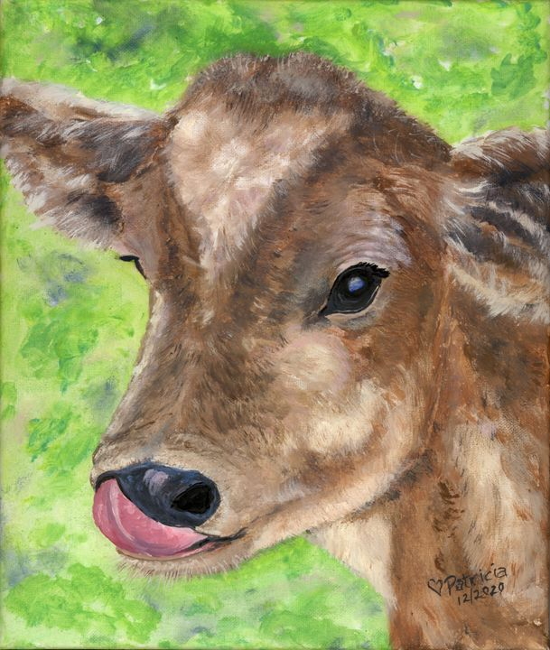 Honey's Heifer - NostalgicNewEngland Paintings by Patricia