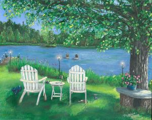 Skinny Dipping - NostalgicNewEngland Paintings by Patricia
