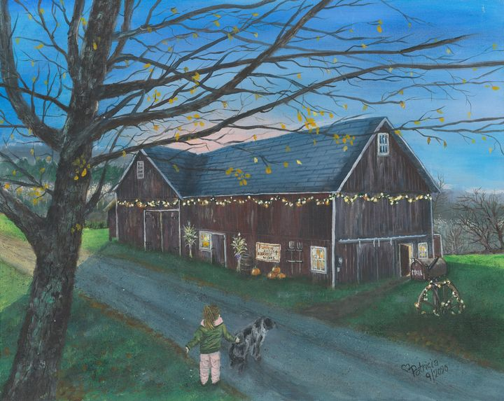 Dog Escorts Girl to Barn - NostalgicNewEngland Paintings by Patricia
