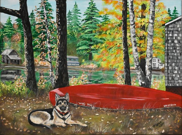 Red Canoe and Dog at Lake - NostalgicNewEngland Paintings by Patricia