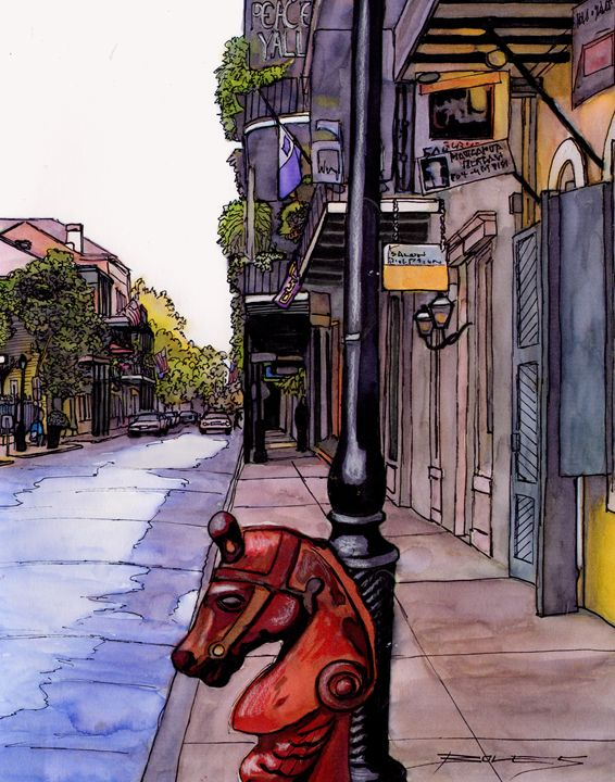French Quarter Street with Hitch - The French Quarter Gallery