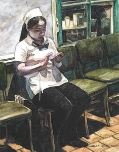 Cafe Du Monde Waitress on the Phone