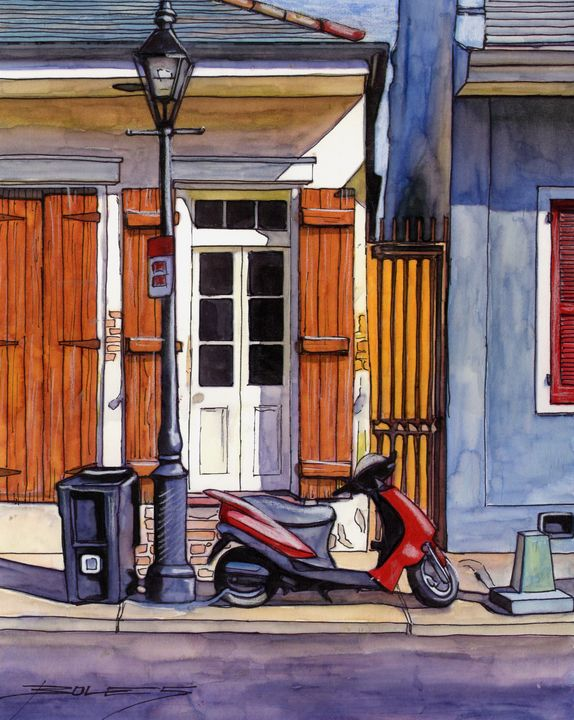 House with Red Scooter - The French Quarter Gallery