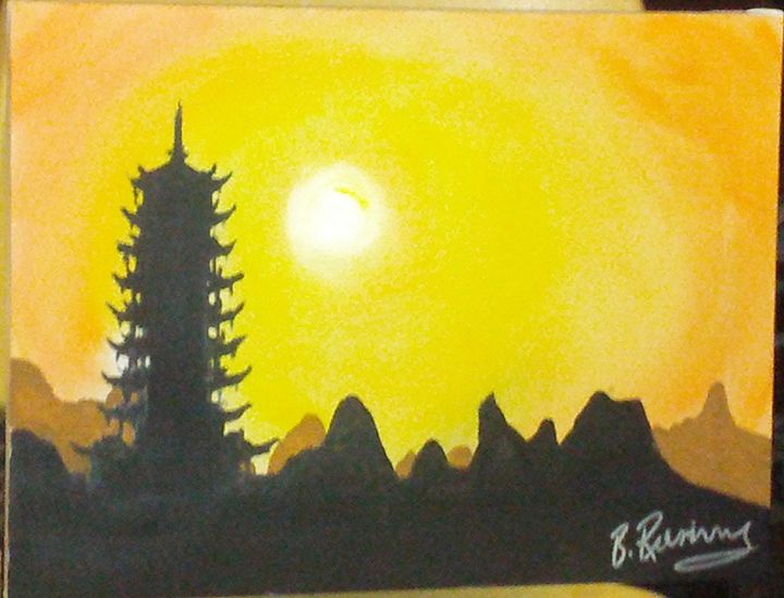 China Pagoda Sunset - Brents Art
