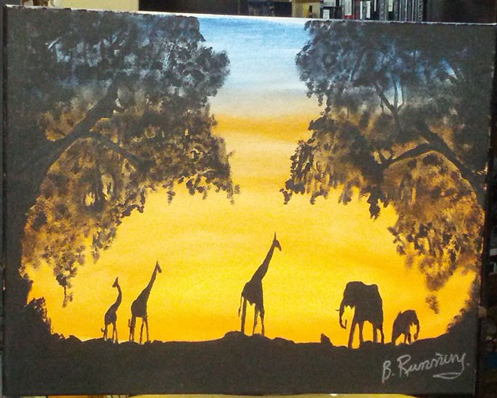 Giraffes and elephants - Brents Art