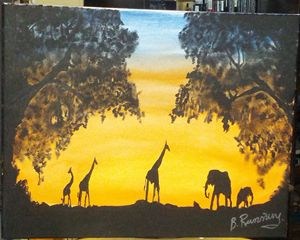 Giraffes and elephants