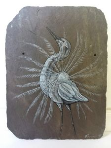 Showoff -Painting on Antique Slate