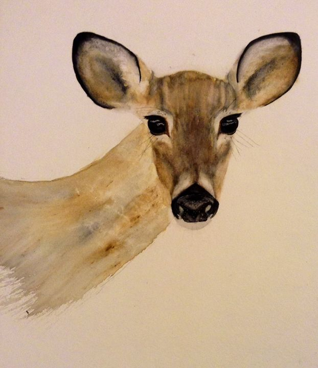 Deer Eyes - Watercolors by Alie