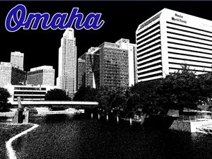 Omaha Skyline Pencil Filter Drawing