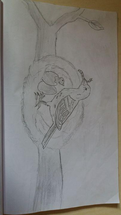 Feeding sparrow - Creative arts