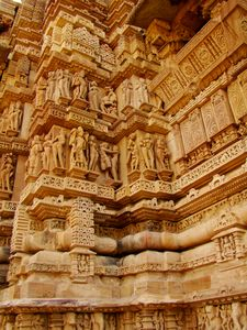 Reliefs of a temple in Khajuraho