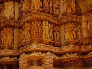 Sensual reliefs in Khajuraho