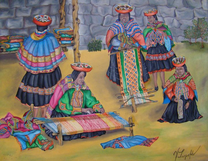 Women knitting of the Cuzco - Jleopold