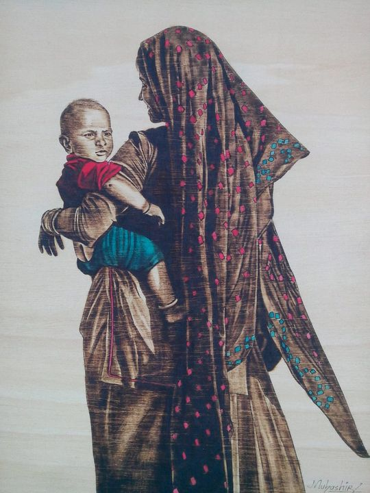 the lady and the child - south asian art