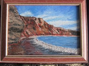 """Red beach"" (Santorini),Oil painting"