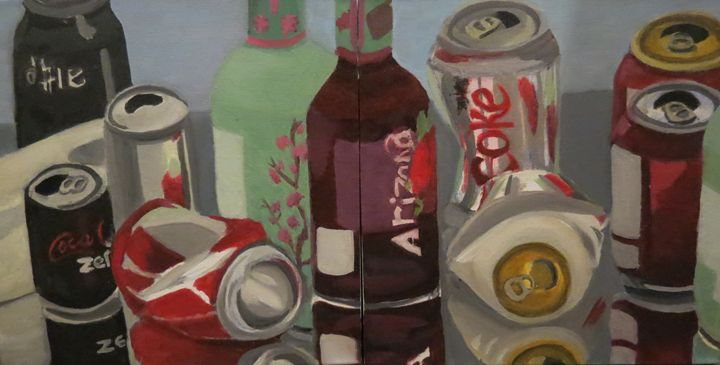 Pop Cans on a Mirror Diptych - Susan Whidden Illustrations