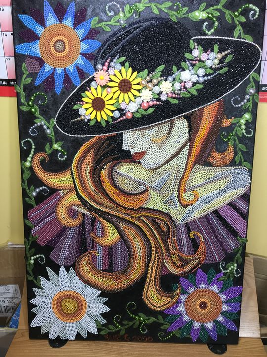 lady in black hat, by Susan craker - Susan craker