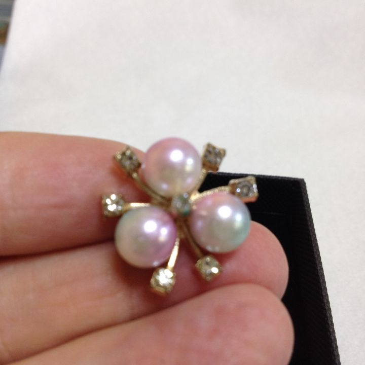 Faux coloured Perls with rhinestones - Susan craker