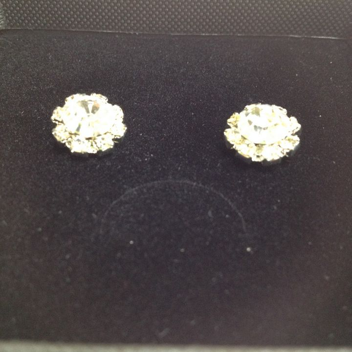 Faux diamond set in rhinestone earri - Susan craker