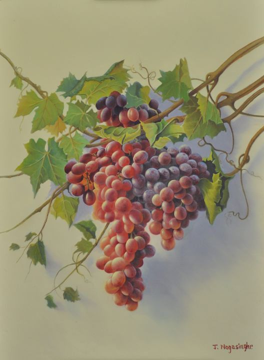 Fresh Grapes - Painted by Jayantha Nagasinghe