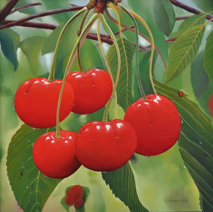 Red Cherries - Painted by Jayantha Nagasinghe