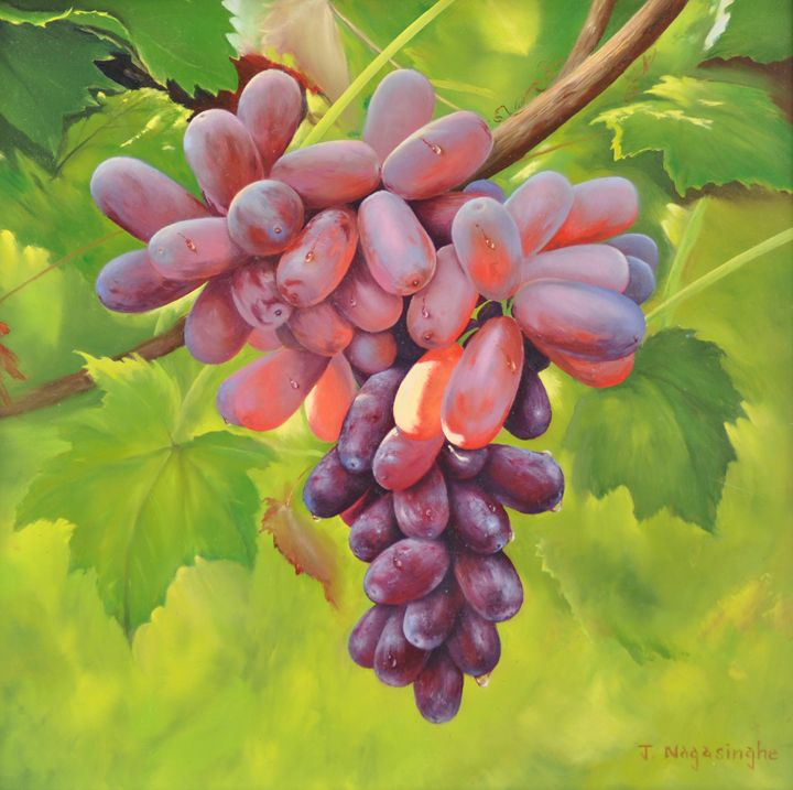 Red Grapes - Painted by Jayantha Nagasinghe