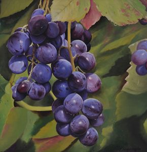 Purple Grapes - Painted by Jayantha Nagasinghe