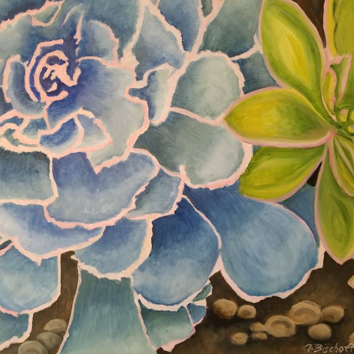 Blue and Green Succulents - Anita Bischoff