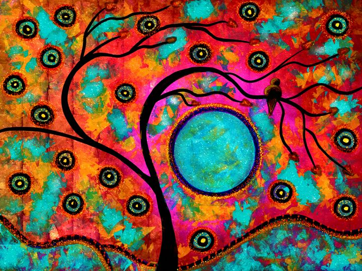 Whimsical Blue Moon Rising - Laurie'sArt111