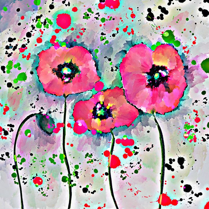 Bright Poppy Flowers - Laurie'sArt111