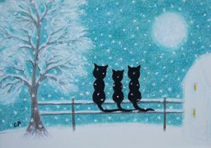 Cats Family in Snow: Framed Original