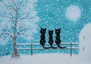 Cats Family in Snow: Framed Original
