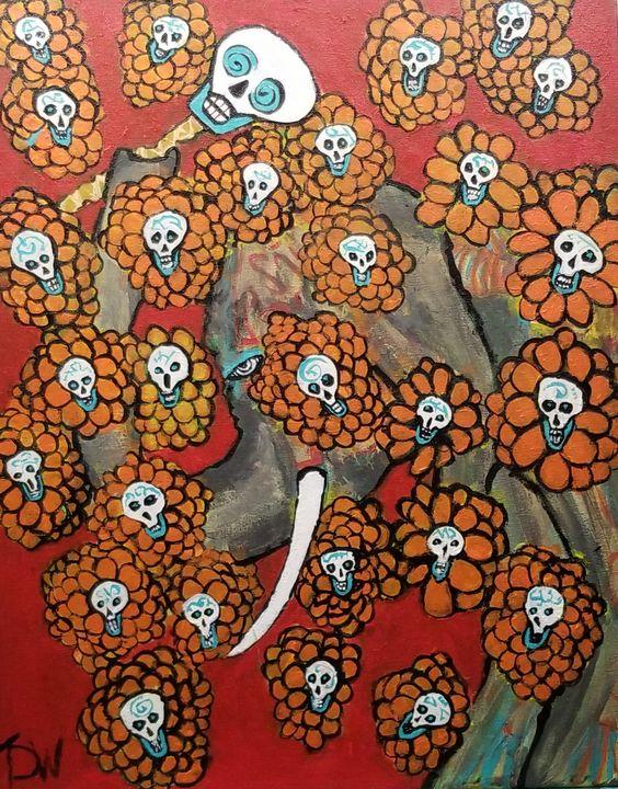 Forgotten Flowers - Brain Injured Art by T. D.Woods