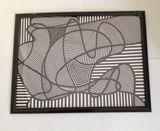 19x25 framed black ink drawing