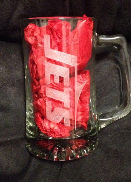 Jets carved beer mug with name - Kurtis gentile