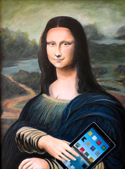 Mona Lisa with ipad - The Art of John Lyes