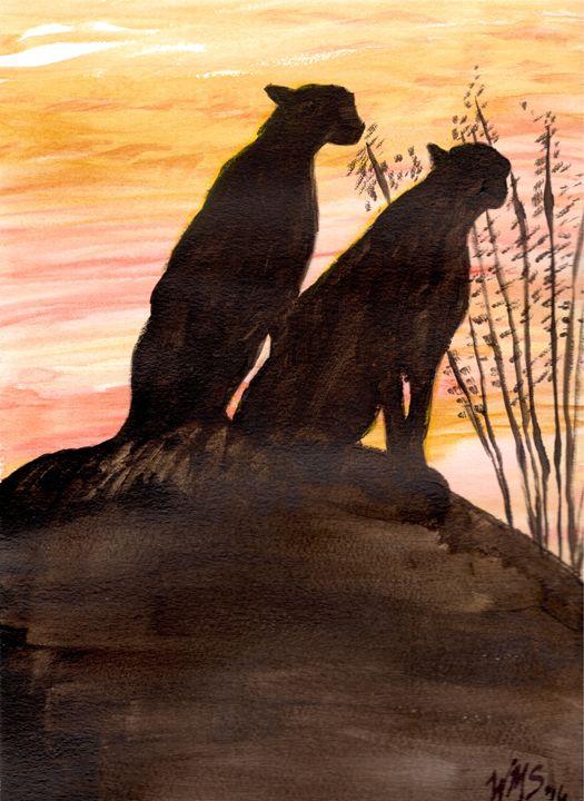 Cheetahs at Sunset - Wendy Smalley