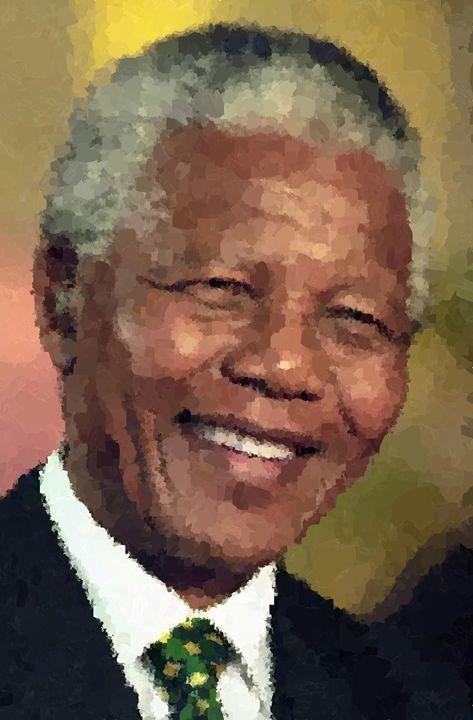 Nelson Mandela Portrait - Portraits by Samuel Majcen