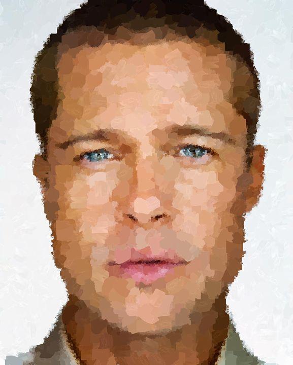 Brad Pitt Portrait - Portraits by Samuel Majcen