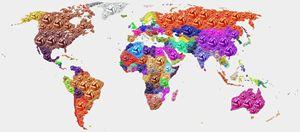 World Map - Soccer Football 2014