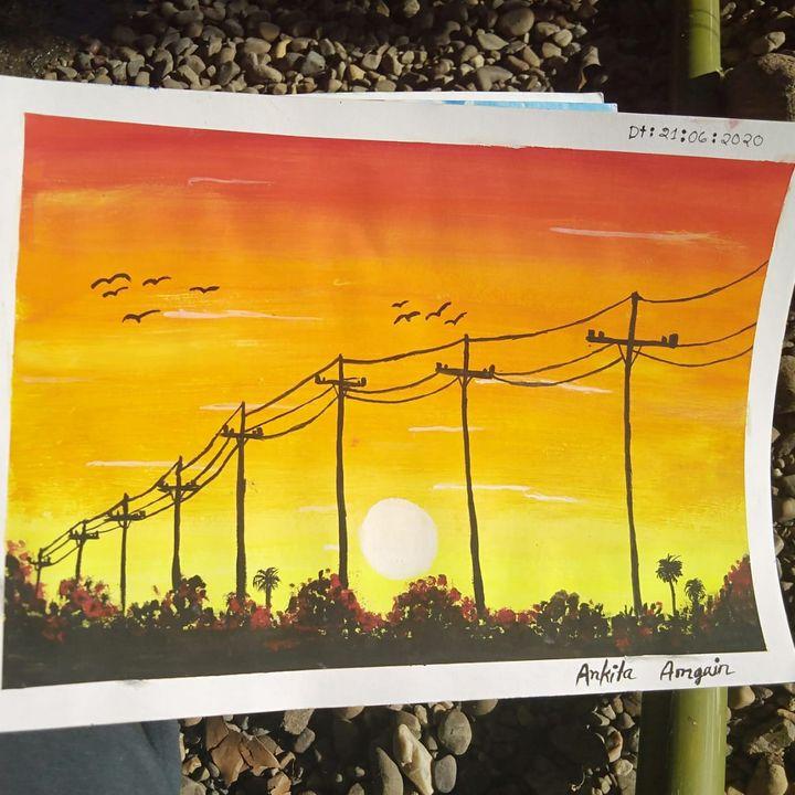 Sunset painting - Ankita Amgain