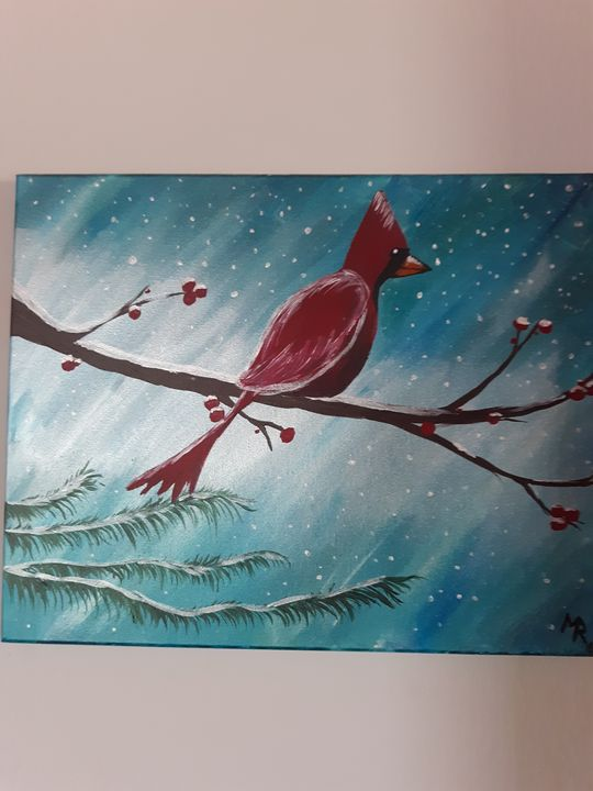 Winter cardinal - Miranda May'd Artwork