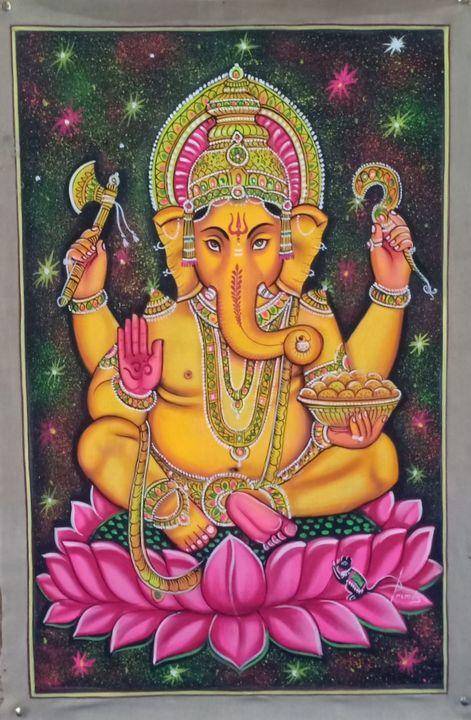 UV Ganesha hand made painting - shreekrishnam
