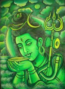green Shiva drinking poison