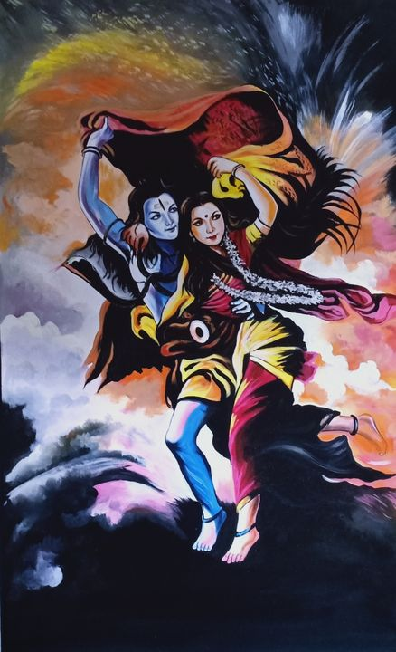 wall arts shiva  handmade painting - shreekrishnam