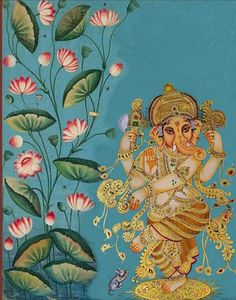 Ganesha dancing painting with louts